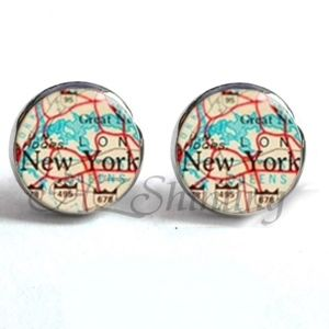 Jewelry - NEW Round New York City Vintage Map Stud Earrings